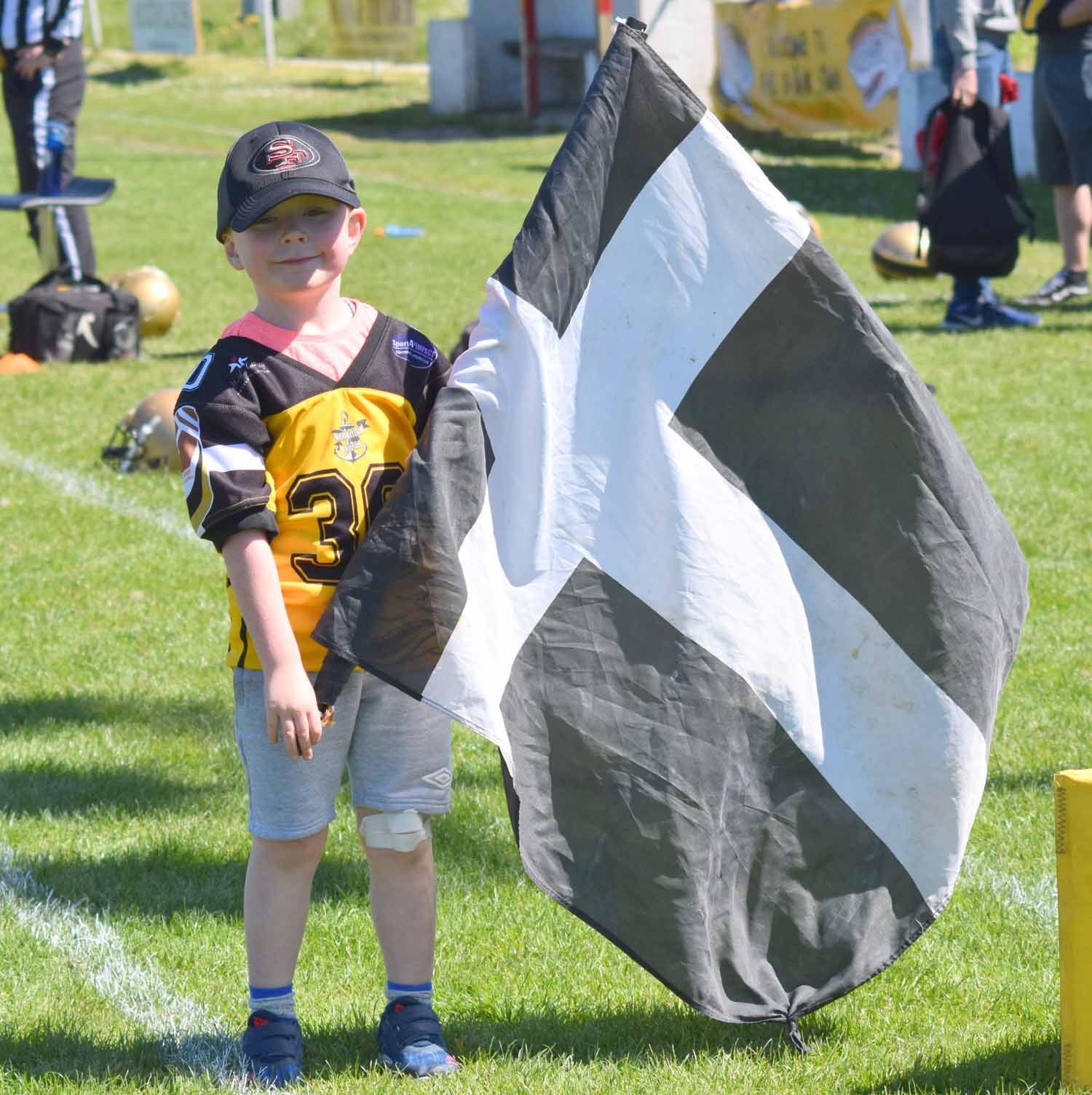 Team mascot waves the Cornish Flag